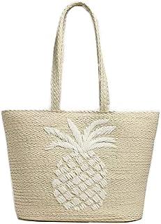 "PIKL Handmade ""Pineapple"" Straw Tote, Shopper, Beach Bag (Medium size L43cm H30cm D15cm)"