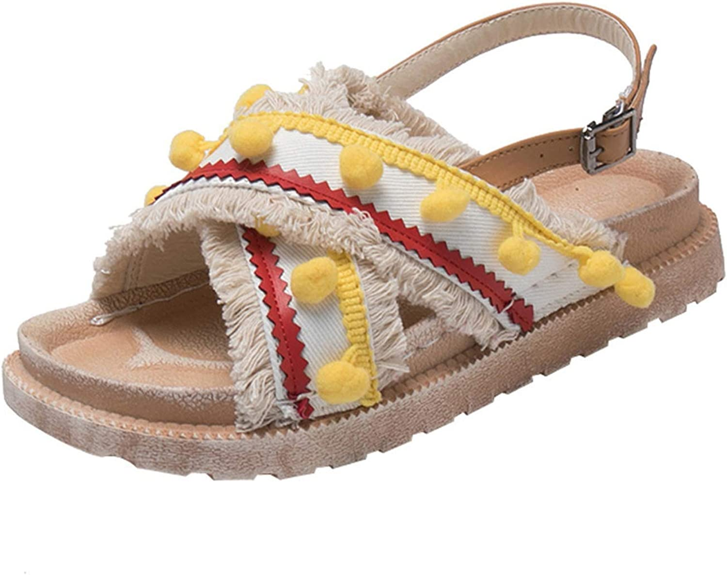 shoes Ladies Ethnic Bohemia Summer Roman Strappy Embroidered Tassel Flats Buckle Sandals