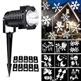 Ucharge Christmas LED Projector Light with 10 Pattern Waterproof Snowflake Dynamic Slides, White