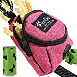 BRIVILAS Dog Poop Bag Holder for Any Dog Leash&Poopbag,Large Waste Bags Dispenser Belt Attachment with Doggie Treat Training Pouch Ideal Gift for Pet Owners (Pink)