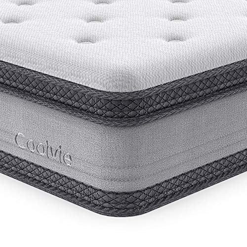 Full Size Mattress, Coolvie 10 Inch Comfy Cool Memory Foam and Innerspring Hybrid Mattress, with Individually Pocket Coils, Cushioning Euro Top and Breathable Hypoallergenic Knitted Cover