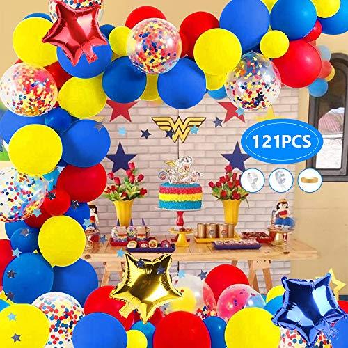 AYUQI Kit de Arco de Guirnalda de Globos de Carnaval y Circo, 121 Globos de látex Amarillo, Azul, Rojo,Globos de Confeti Multicolores para Fiestas, Bodas, Carnaval, Cumpleaños,Decoración,Suministros