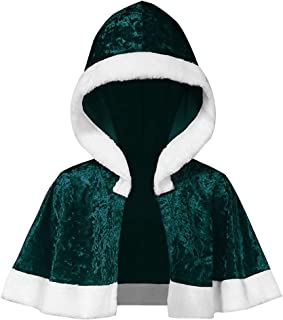 JustWin Womens Long Sleeve Christmas Velvet Hooded Cloak Velvet Christmas Hooded Cape Santa Coat