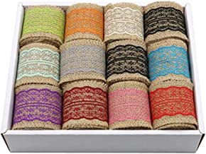 12pcs Burlap Color Fabric Ribbon Roll for Arts & Crafts Homemade DIY Projects,B