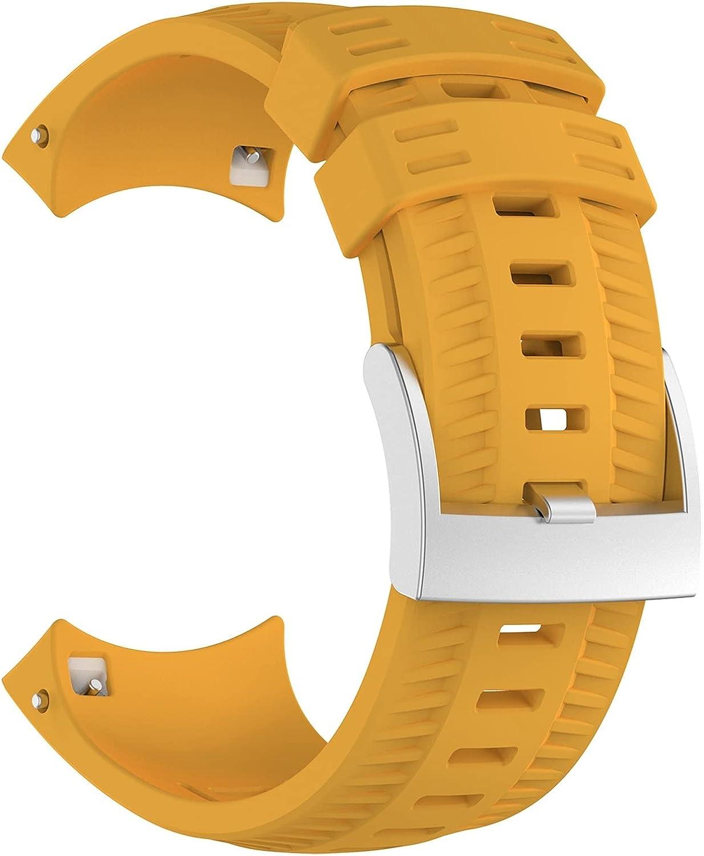 ZLK Adecuado para Suunto 9 Baro, Correa de Reloj Deportivo GPS, Banda de Reloj Deportivo al Aire Libre (Reloj no Incluye) (Color : Amarillo)