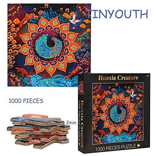 TINYOUTH 1000 Teile Pfau Puzzle, Leben in der Natur Bunte Puzzle Rahmenpuzzles, Platz Schwierige Puzzle, Keine Farb oder Druckfehler, Klassische Puzzle Stressabbau Spielzeug für Erwachsene Kinder