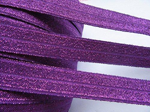 YYCRAFT 5/8' 15 Yards Glitter Fold Over Elastic Stretch Foldover FOE Elastics for Hair Ties Headbands(Purple)