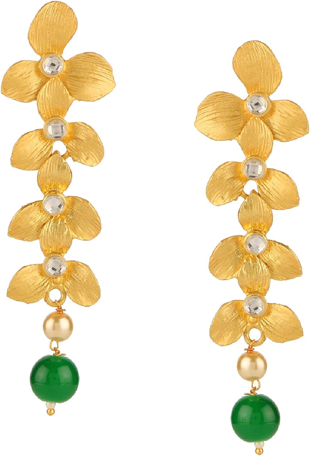 Efulgenz Indian Bollywood Pearl Floral Style Dangle Hanging Jewelry Earrings Set