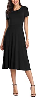 Urban CoCo Women's Short Sleeve Waisted Slim Fit Midi Dress