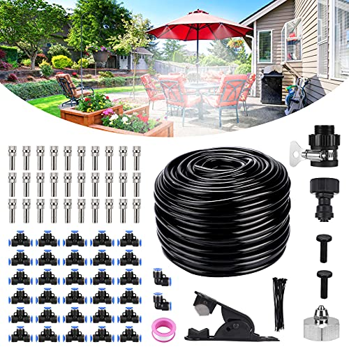 Bearbro - Sistema de refrigeración de niebla para patio, 24 m, kit de refrigeración para exteriores, 30 boquillas de cobre de metal +...