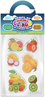 Fruits Thick Gel Clings Incredible Removable Window Clings for Kids, Toddlers - Strawberry, Kiwi, Orange, Lychee, Lime - Incredible Gel Decals for Glass, Walls, Planes, Classrooms, Bedrooms, Nursery