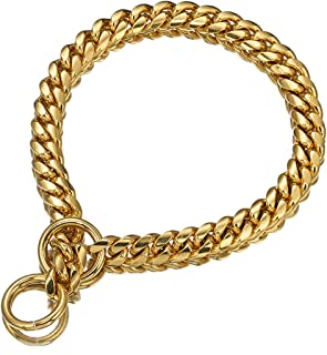 Aiyidi Polished Dog Choke Collar Slip Dog Chain 18K Gold Plated Strong Metal Chain for Dog 12mm, 15mm, 18mm Stainless Steel Curb Cuban Chain Collar for Dog's Training, Daily Use