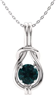 Diamondere Natural and Certified Gemstone Infinity Knot Solitaire Necklace in 14k White Gold | 0.37 Carat Pendant with Chain
