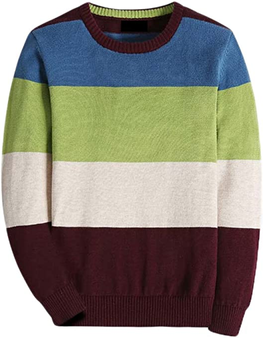 BASADINA Boy's Long-Sleeve Sweater Pullover V-Neck 100% Cotton Multicolor Stripe