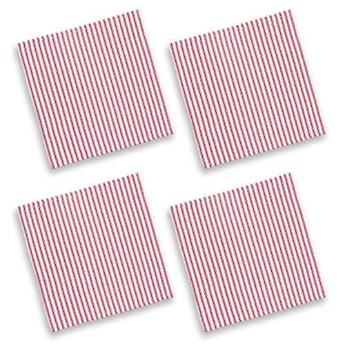 Cackleberry Home Red and White Ticking Stripe Woven Cotton Fabric Napkins 17 Inches Square, Set of 4