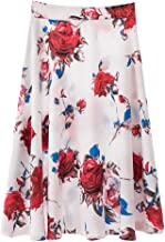 BBZUI Women Casual Skirt Mid-Length Skirt Print Pleated Skirt
