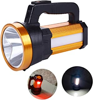 Rechargeable Handheld LED Spotlight Portable Flashlight 6000 Lumen Super Bright High Powered Searchlight Large Lithium Bat...