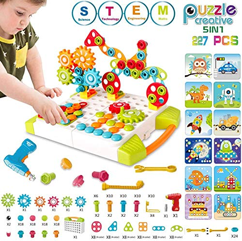 5 IN 1 STEM Learning Toys - 227PCS Building Block Set with Pegboard Toy Drill Button Screw Driver Tool Kits, DIY Educational Engineering Construction Puzzle Games Toys Gift for Kids Boys Girls Ages 3+