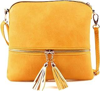 Tassel Charm Cross Body Bag, LeahWard Women's Side Shoulder Bags, Small Faux Leather Handbag For Women