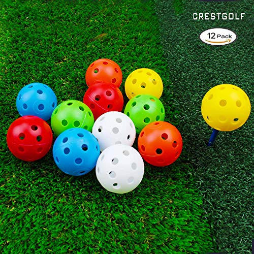 CRESTGOLF Plastic Golf Training Balls Perforated Airflow Hollow 40mm Golf Practice Balls for Driving Range Swing Practice Home UsePet Play12pcs mixed