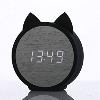 Led Wooden Alarm Clocks Kid'S Clock Cute Cat Silicone Electronic Wooden Table Clock Cartoon Calendar Perfection Voice Control