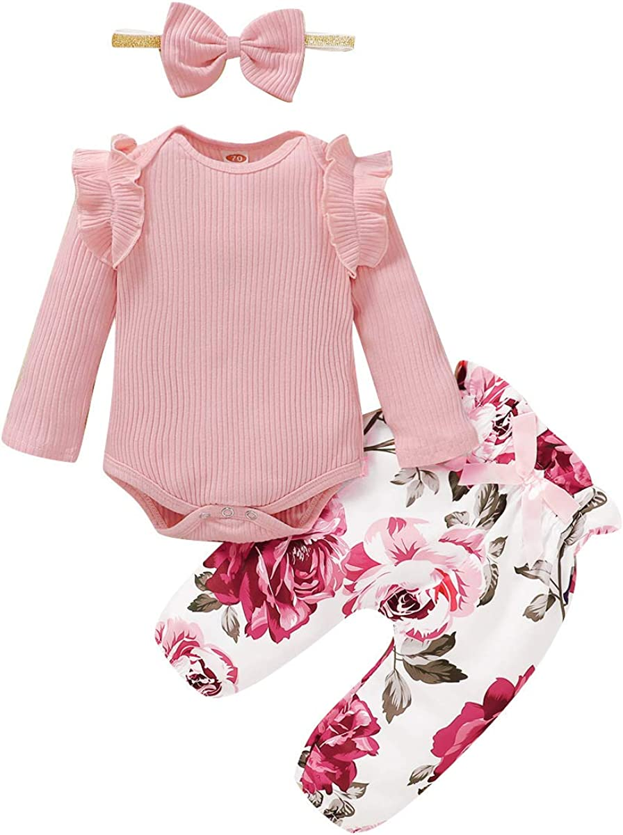 OrangeMom Baby Girl Clothes Outfits with Hairband Ruffle Cotton Clothing for Kids Girls