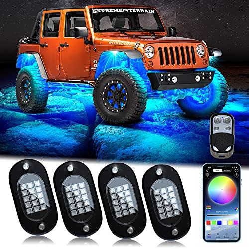 Auto RGB LED Rock Licht Kit, Multicolor Hell Neon Light mit APP/RF-Steuerung,DIY Musikmodus Wasserdichtes Under Glow Light Kits für Auto Geländewagen SUV Jeep
