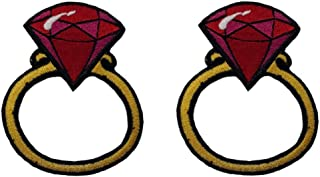 Pair of Lovely Rings Patches Iron on for Clothes Applique Ring with Diamond (Multicolored 1)