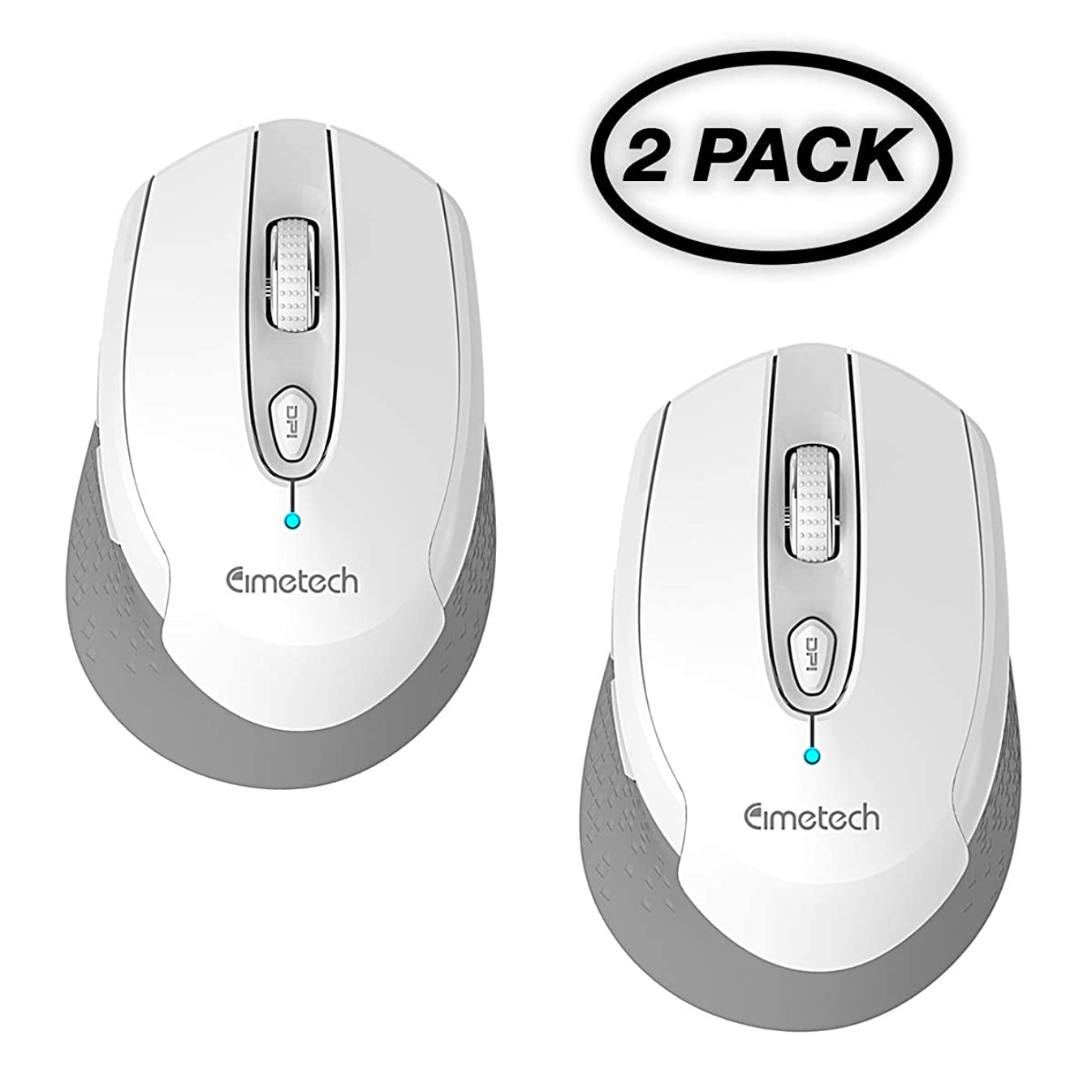 Wireless Mouse for Laptop, cimetech 2.4G Cordless Mouse with USB Receiver, Noiseless and Silent Computer Mice with 3200 DPI 6 Buttons, Battery Included (2PACK)
