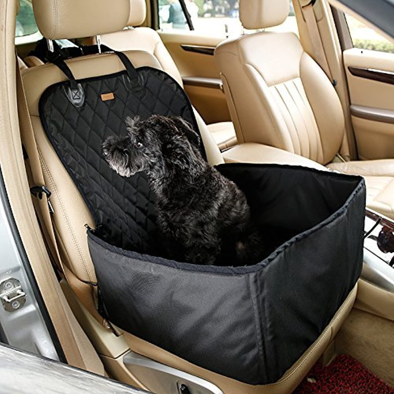 LLYU Pet car Dog car Booster seat Cover Waterproof Dog Bag Small Dog Outdoor Travel (color   Black)