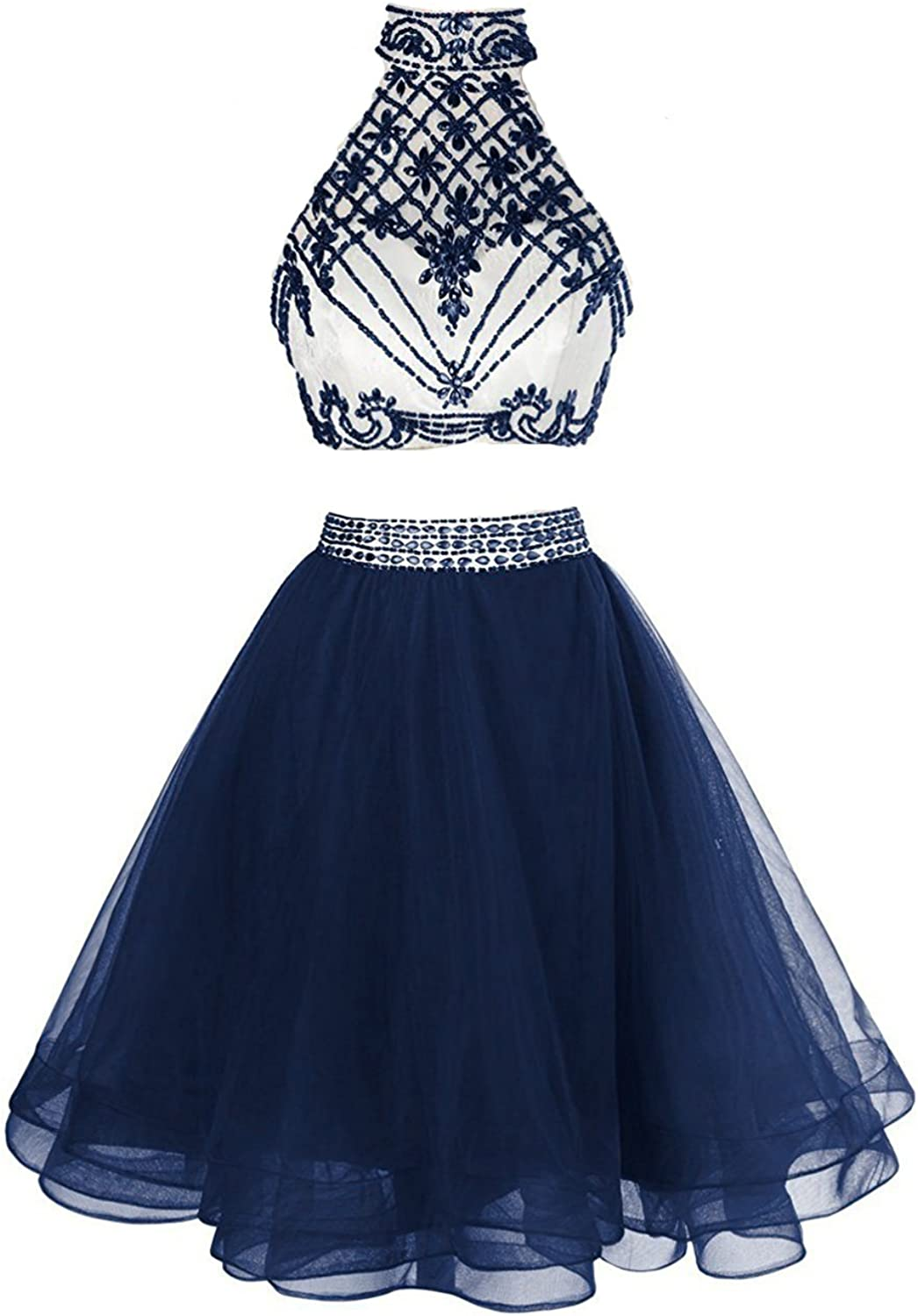 HIDRESS Women's High Neck Short Homecoming Dresses Two Pieces Cocktail Gowns BQ079