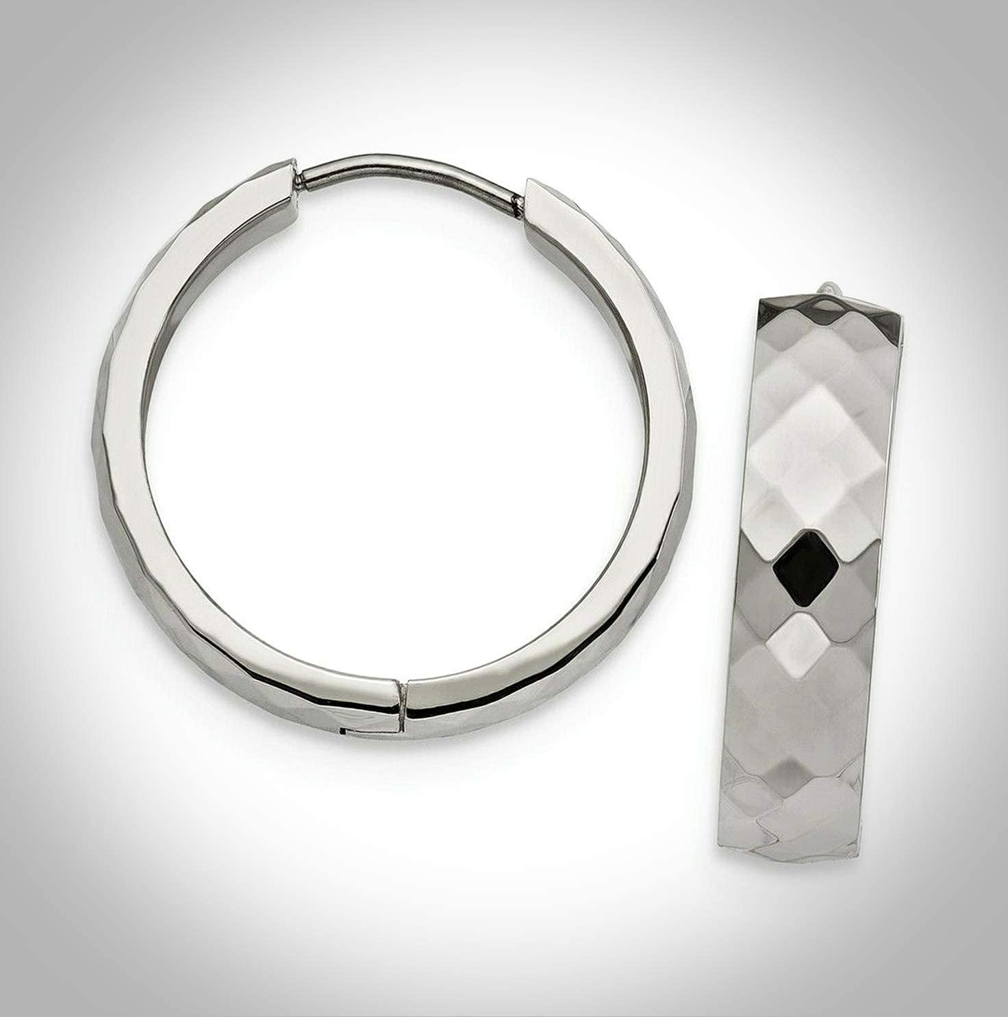 Columbus Mall New 5 ☆ very popular Stainless Steel Polished and Hoop Adorable Textured Hinged E