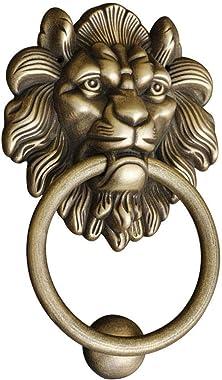 Rustic Door Knocker, Anti-Rust Anti-Corrosive Brass Lion Head Vintage DoorKnocker Great for Manor Villa Hotel-Bronze-14.5x22c