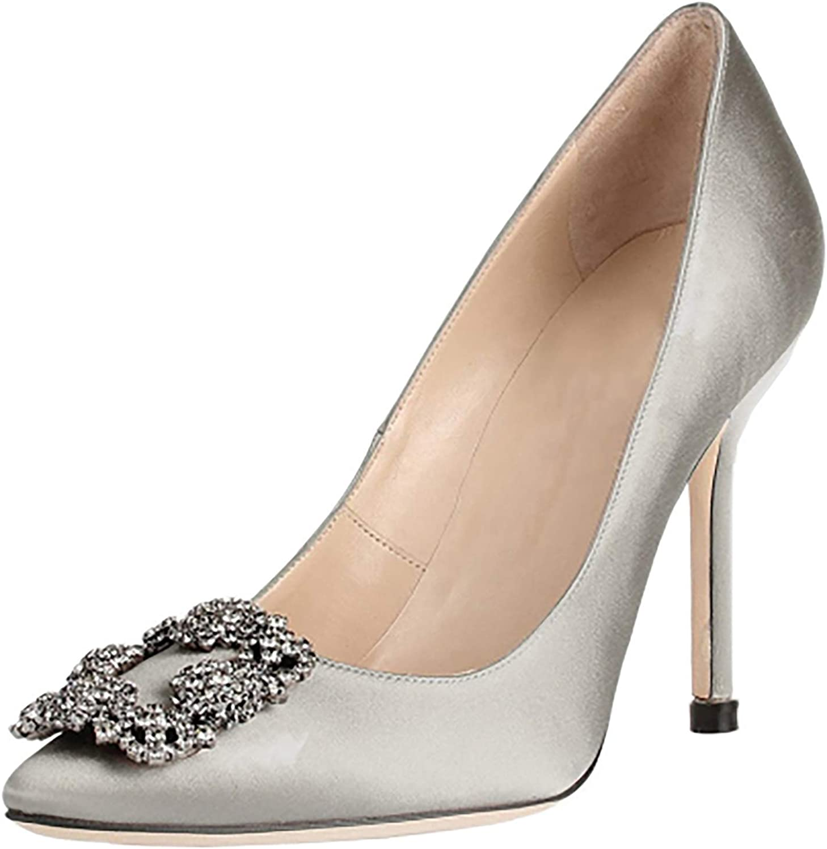 HEETIST Women's Satin Jeweled Embellishment Rhinestone Diamonds High Heel Wedding Party Evening Dress Pumps Slip On