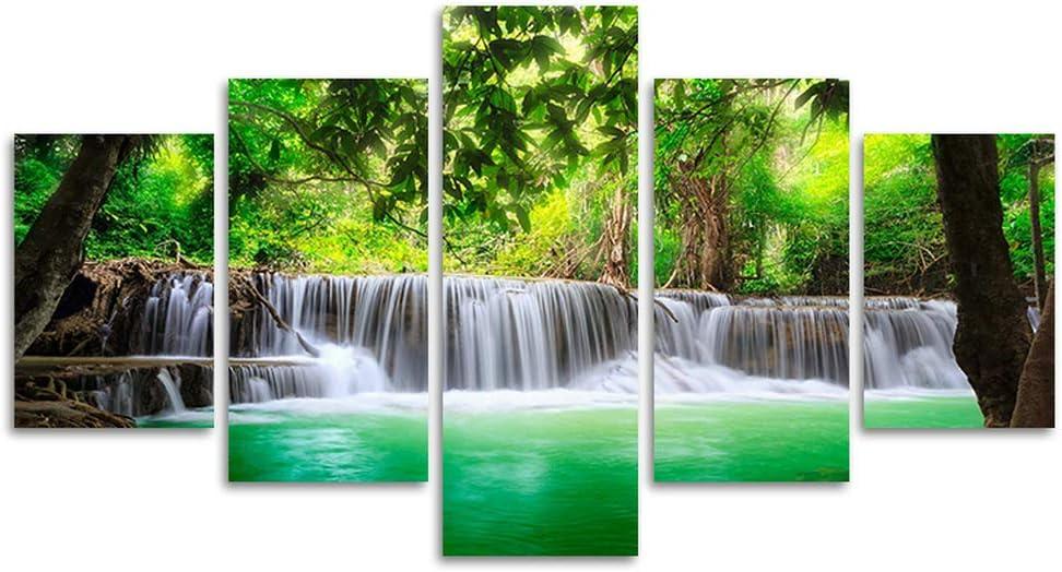 国内在庫 新品 送料無料 Green Waterfall Canvas Dreamlike Tree Wall Leaves Lan Modern Art