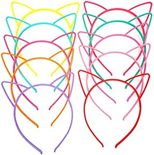 10 PCS Cat Ears Headbands Cat Bow Hairbands Makeup Party Headwear Candy Color for Kids and Adult Kitty Ears (A#)