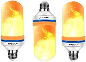 SIXDEFLY 3-Pack LED Fire Bulbs E26 4 Modes with Upside Down Effect Simulated Decorative Atmosphere Lighting Vintage Flaming Lamp for for Holiday Hotel/Bar/Party/Home, (Pack of 3)
