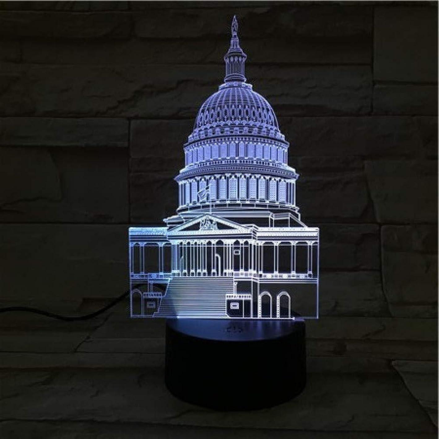 ウェイトレス電気陽性表面3Dイリュージョン有名な建物LEDランプタッチセンサーマルチカラーRGBベッドルームベッドサイドアクリル装飾的なデスクランプキッズフェスティバル誕生日ギフトのUSB充電