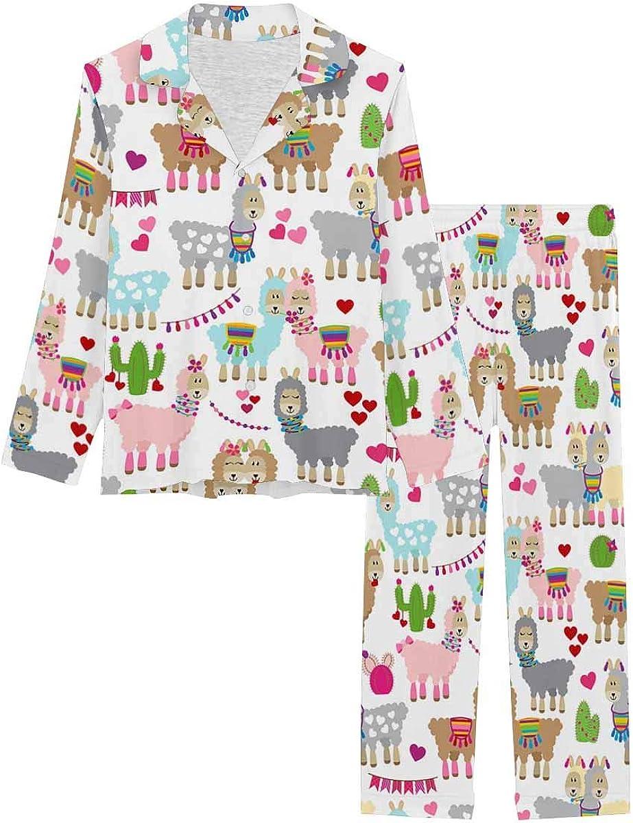 InterestPrint Long Sleeve Nightwear Button Down Loungewear for Women Valentine's Day Llamas