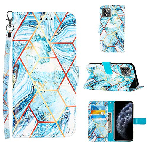 Compatible for iPhone 11 Pro Max Wallet Case,[Stand Feature][Wrist Strap][Credit Cards Holder] 2021 New Marble Pattern Premium PU Leather Flip Protective Cover for iPhone 11 Pro Max Cases (Blue)