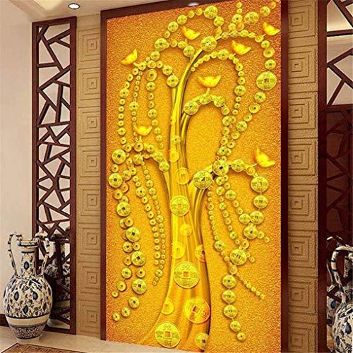 Tapeten Moderne Art-Chinesisches Goldbarren Entranceway-Hintergrund-Tapeten-Foto-Wandgemälde