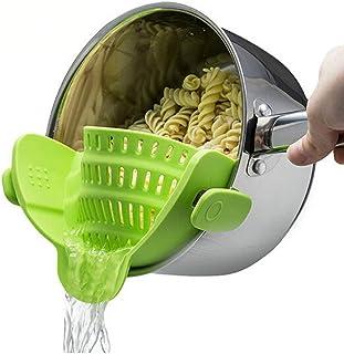 ANNIUP - Colador Ajustable de Silicona para Cocina, con Clip, para Olla/sartén/Cuenco, colador de Alimentos, Frutas, Verduras, Embudo para Lavar Aceite Caliente o frío, Agua de Sopa al Azar