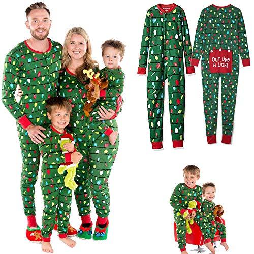 Koloyooya Family Matching Christmas Pajamas Sets Adult Kids Lights Romper Funny OneSize Sleepwear Adult Children's Light Fun Water Seat One Piece Pajamas (Green, Kid-8Years)