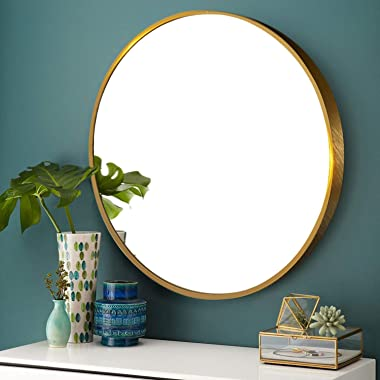 Elevens Wall Round Mirror - Popular 32 Inch Round Wall Mounted Decorative Mirror - Metal Frame, Best for Vanity Washrooms Bat