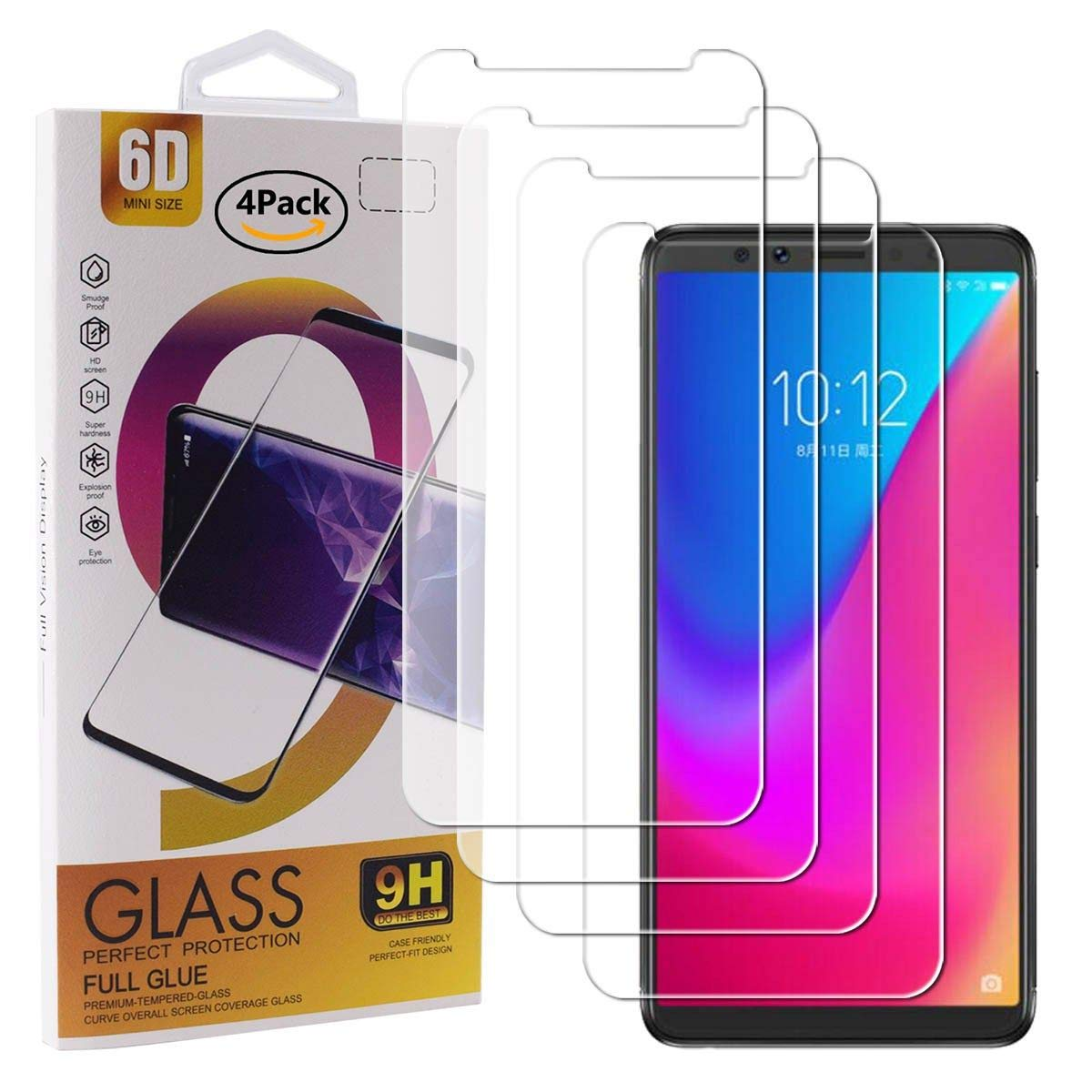 Guran 4 Paquete Cristal Templado Protector de Pantalla para Lenovo K5 Pro Smartphone 9H Dureza Anti-Ara?azos Alta Definicion Transparente Película: Amazon.es: Electrónica