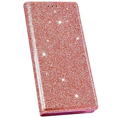 Ysimee Compatible avec Coque iPhone XR Mode Glitter Housse en Cuir Coque à Rabat Portefeuille Aimant à Enfiler avec Emplacement pour Cartes de Crédit et Fonction Béquille,Or Rose