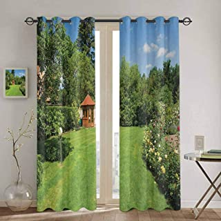 Wlkecgi Garden Window Curtain Peaceful Countryside Landscape with Blooming Roses Brick Path and a Small Gazebo Waterproof Fabric W63 x L63 inch Multicolor