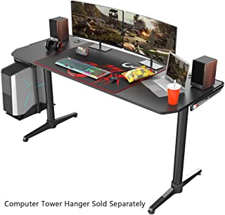 EUREKA ERGONOMIC I60 Computer Gaming Desk 60`` PC Computer Gaming Desks Carbon Fiber Texture Surface PC Gamer Desk for Gift for Boyfriend Son Game Lover Gift