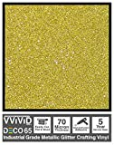 VViViD DECO65 Gold Flake Metallic Glitter Adhesive Vinyl 6 Feet x 1 Foot Craft Roll for Cricut, Silhouette & Cameo Plotting Machines