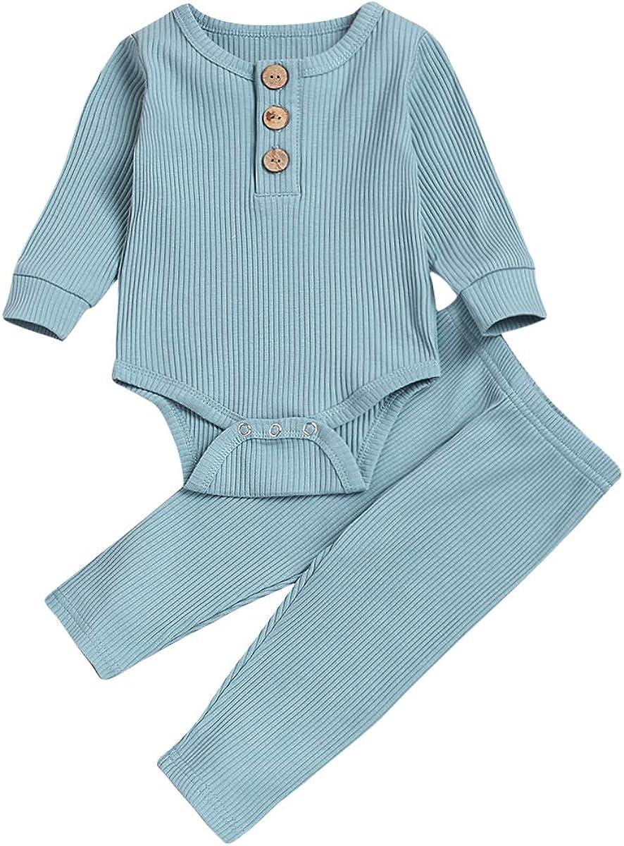 Newborn Baby Boys Girls Snug-Fit Pajamas Long Sleeve Organic Cotton Bodysuit+Pants Sets Fall Winter Clothes(Blue,3-6 Months)